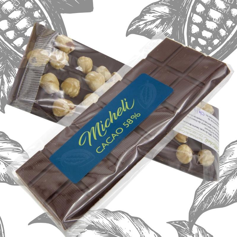 Plaques Chocolat 58% Noisettes du Piémont