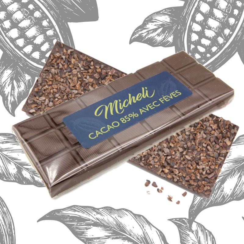 Plaque de Chocolat 85% avec fèves
